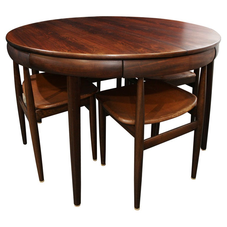 Rosewood Dining Table With Nested Chairs By Hans Olsen At 1stdibs