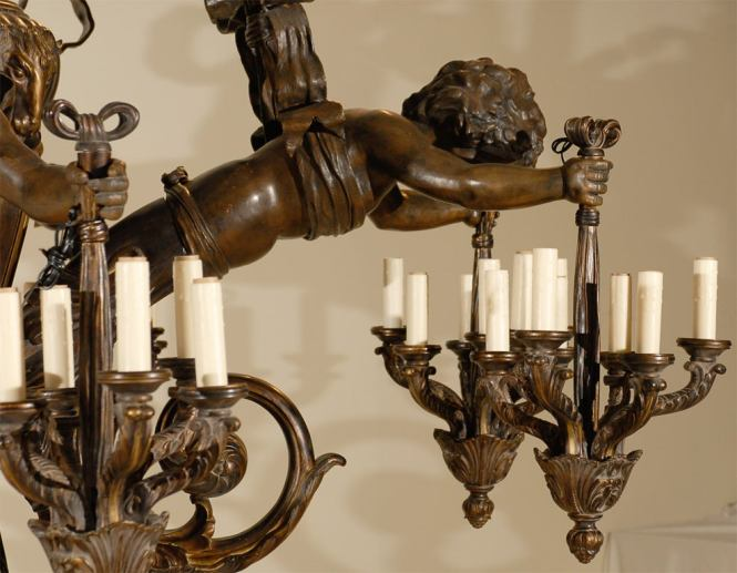 Antique Chandelier Wood And Bronze With Cherubs 3