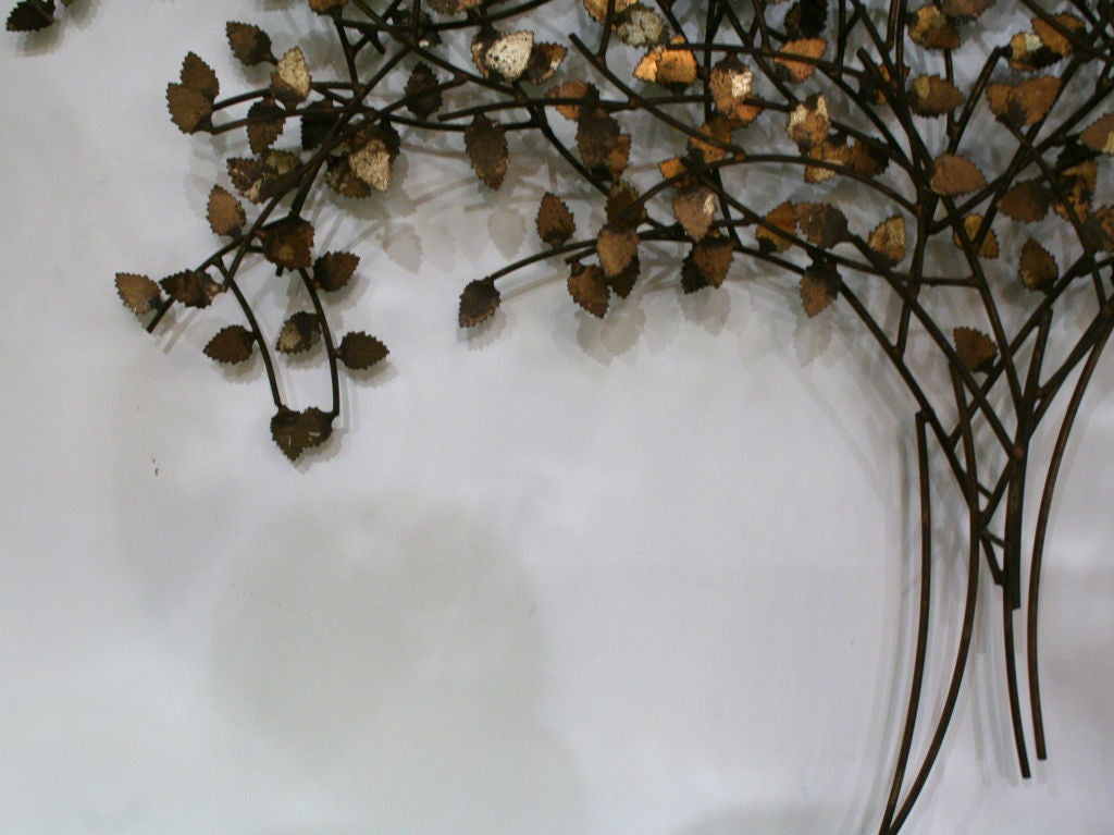 """Gold And Silver Leaf Wrought Iron """"Tree Of Life"""" Wall"""