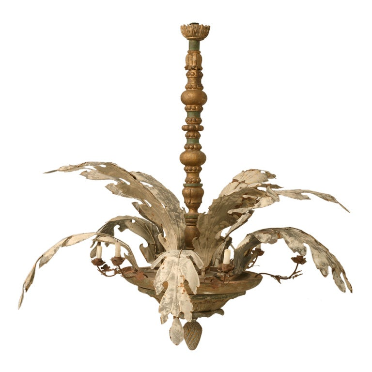 C1900 1920 Large Exotic Italian Plant Form Chandelier At