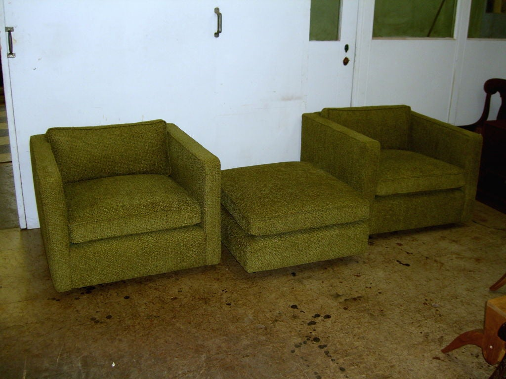 Pr Charles Pfister For Knoll Cube Chairs And An Ottoman At