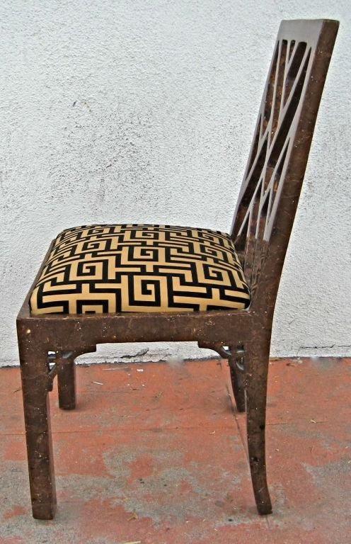 Six Tortoiseshell Lacquer Chinese Chippendale Dining