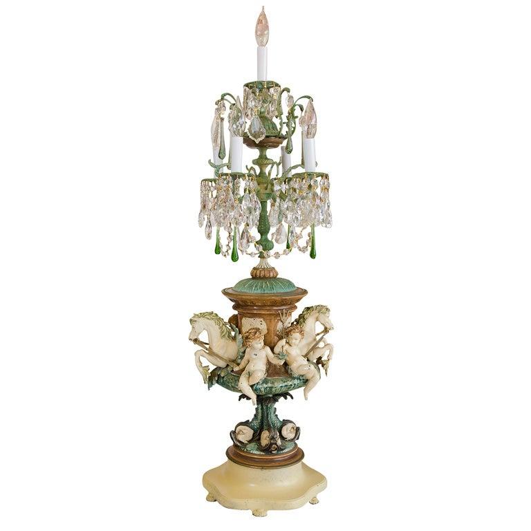 Crystal Seahorse Cherub Candelabra Lamp At 1stdibs