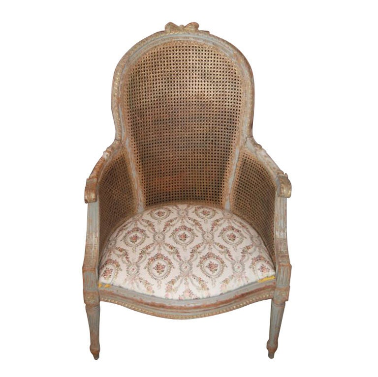 19thc Painted And Caned Armchair At 1stdibs