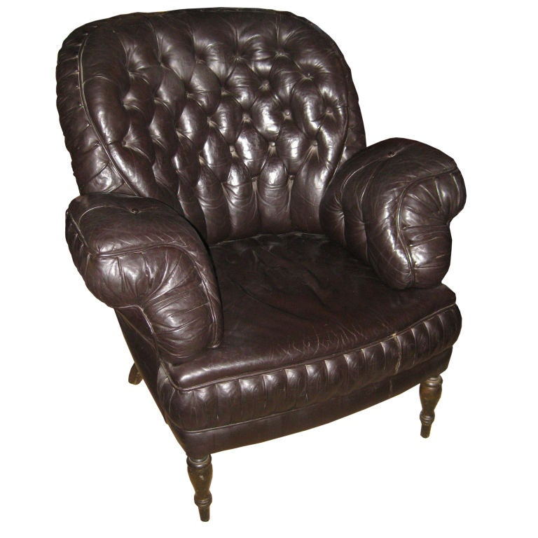 Antique Turkish Style Tufted Black Leather Chair At 1stdibs