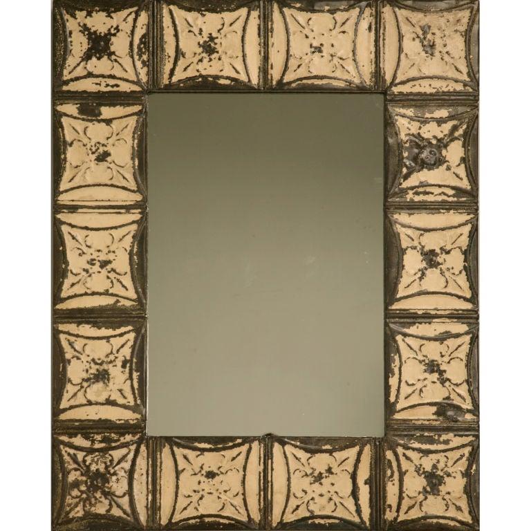antique tin ceiling tile framed mirror