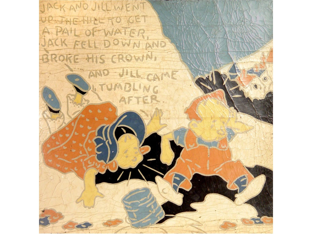 5 Rare Linoleum Nursery Rhyme Panels At 1stdibs