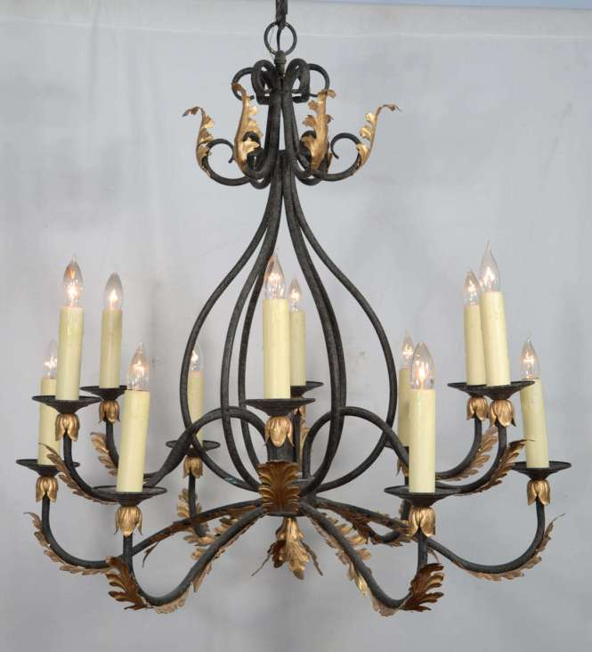 Wrought Iron Nine Light Chandelier With Gold Leaf Acanthus Design 2