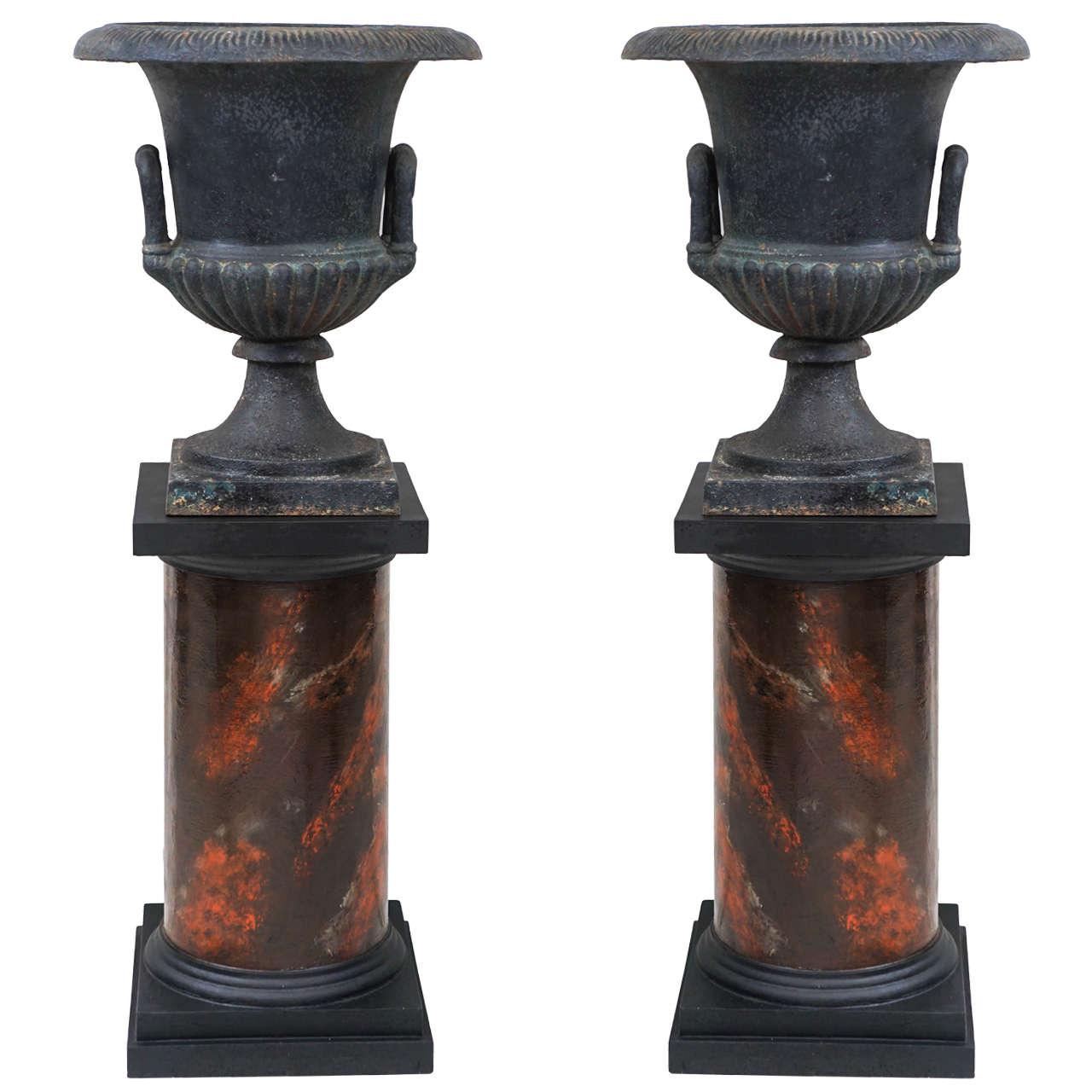 Pair Of 19th Century Cast Iron Urns On Marbleized