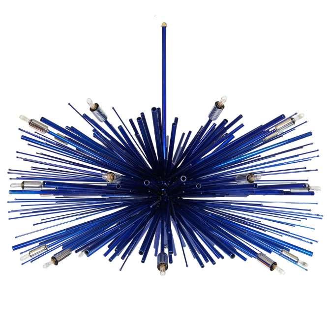 Designer Original Custom Supernova Electric Blue Chandelier With 24