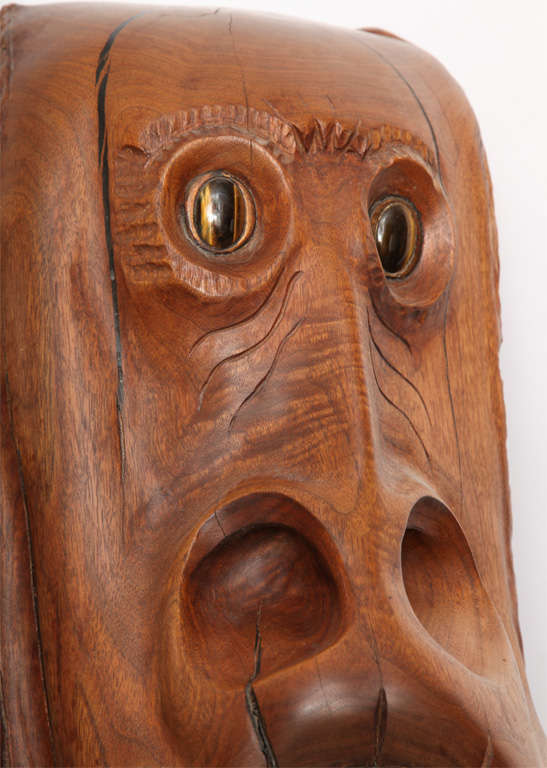 1970s Modernist Carved Wood Sculpture By WP Katz For Sale