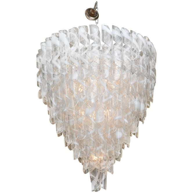 Monumental Pair Of Italian Modern Glass Chandeliers Mazzega