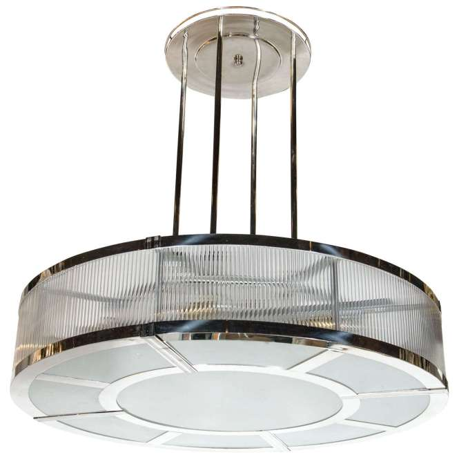 Streamline Art Deco Style Circular Chandelier In Polished Nickel Glass 1