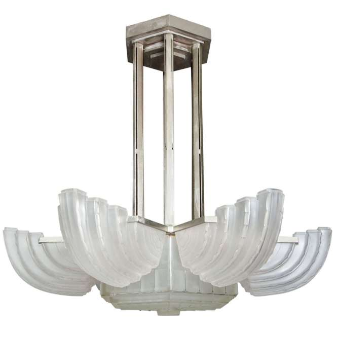 Large And Important Art Deco Chandelier By Sabino For