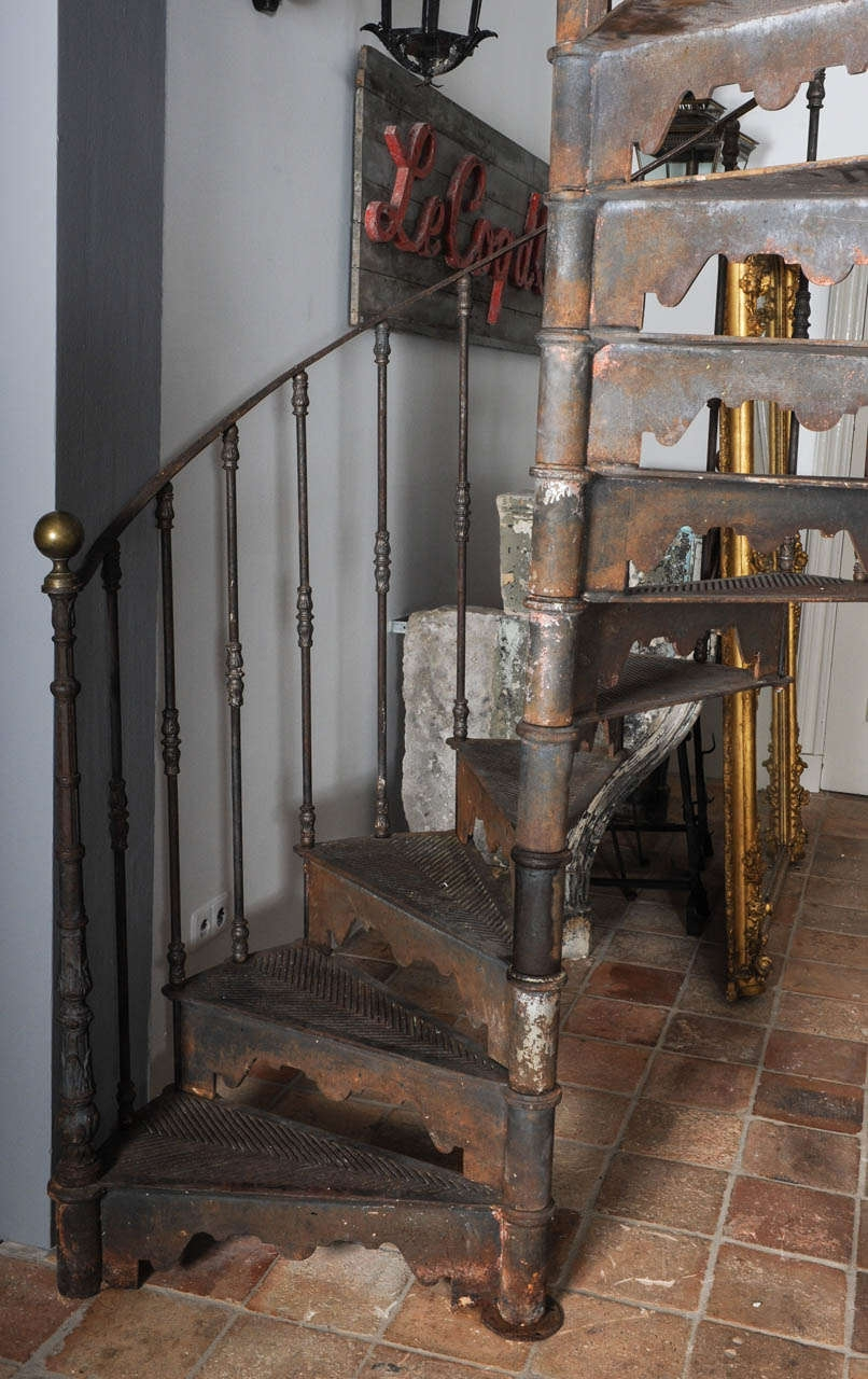 An Antique Industrial Cast Iron Spiral Staircase At 1Stdibs | Iron Spiral Staircase For Sale | Grey Exterior | Wrought Iron | Ornate | Helical Staircase | Architectural Salvage