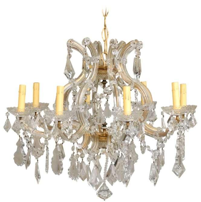 Italian Eight Light Maria Theresa Style Vintage Crystal Chandelier 1