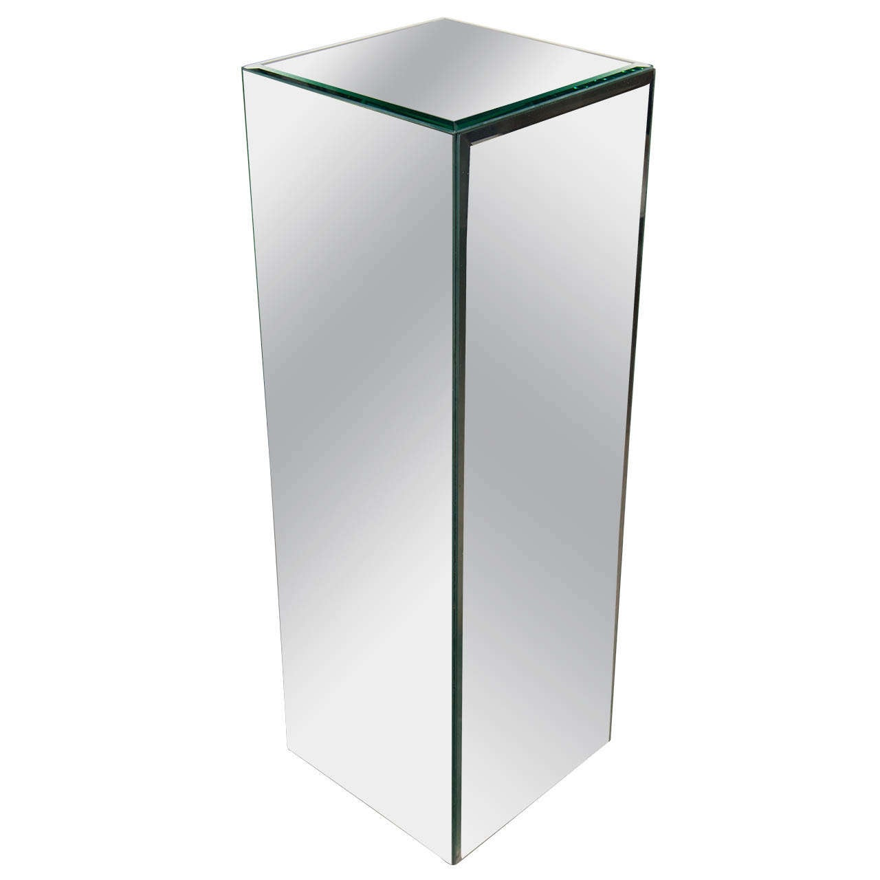 Mid Centuy Modernist Hand Beveled Mirrored Pedestal At 1stdibs