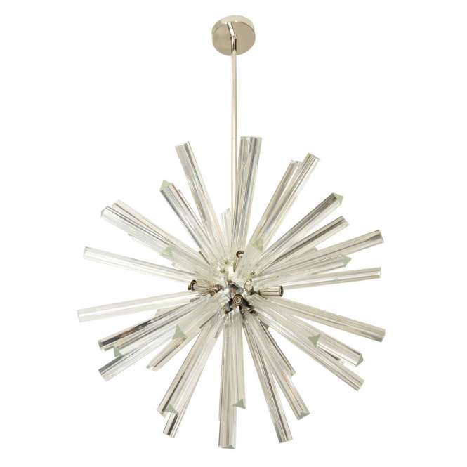 Vintage Starburst Style Chandelier In Chrome And Glass For