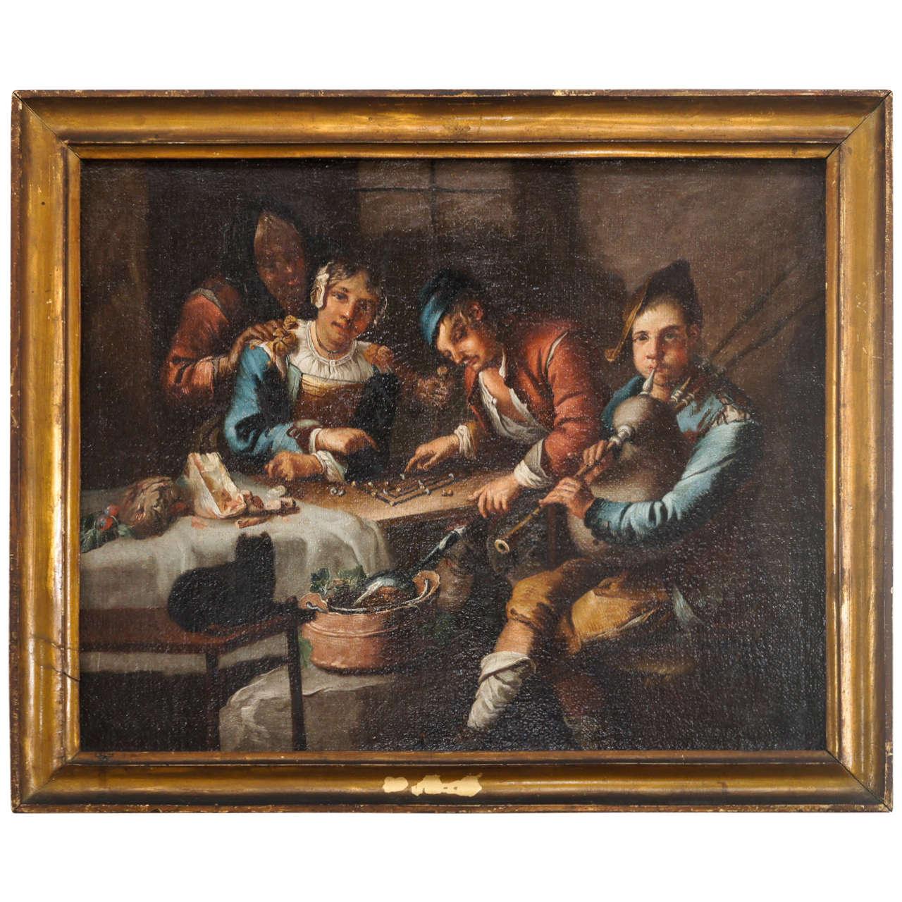 Dutch Or Flemish Genre Painting Circle Of Adriaen Brouwer