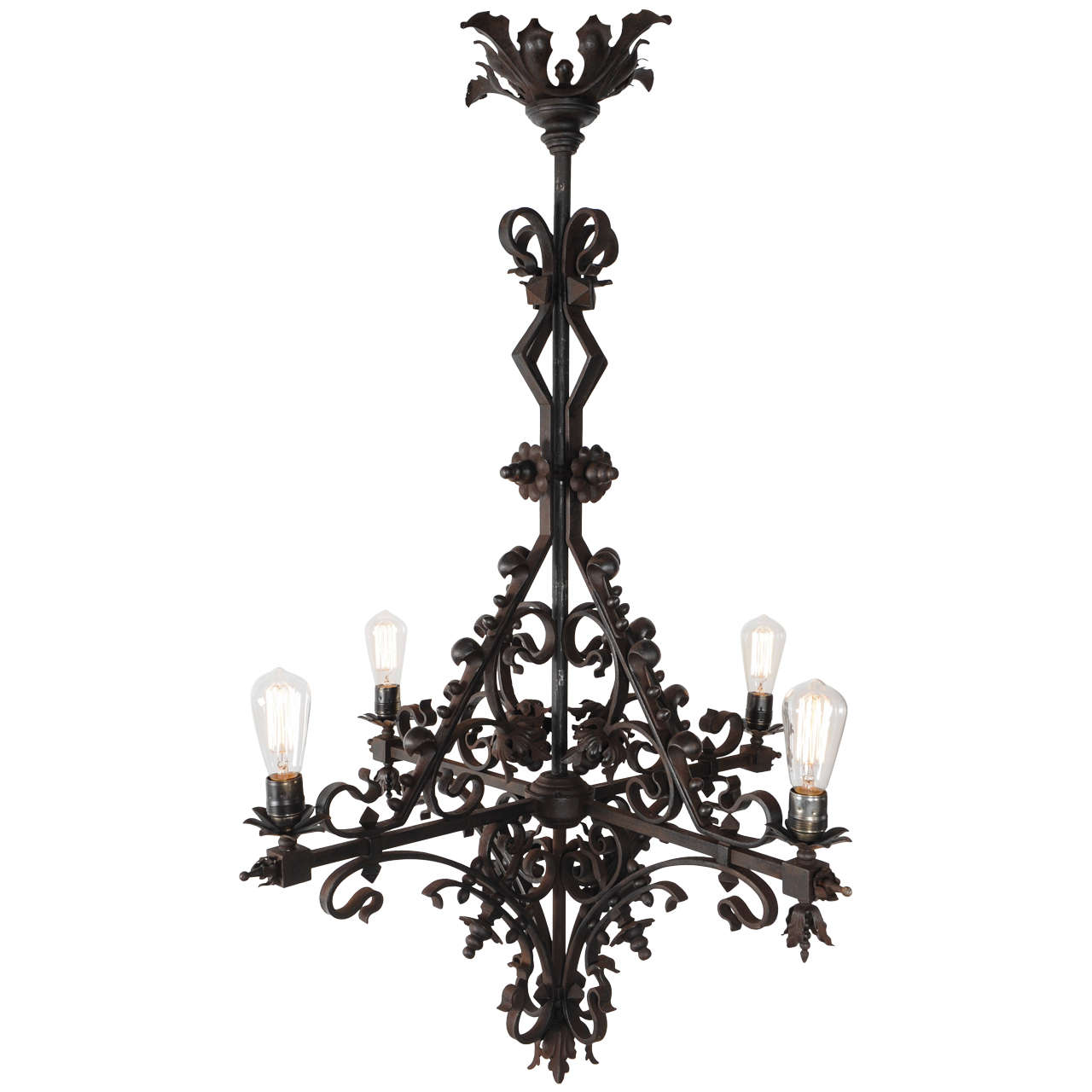 early 20th century steampunk wrought iron church chandelier