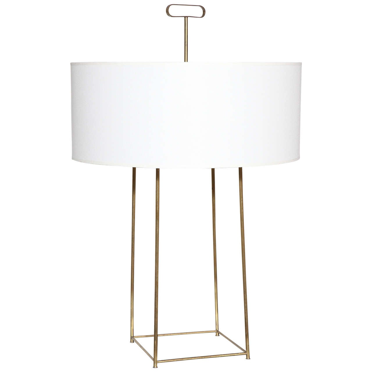 Tommi Parzinger Brushed Brass Table Lamp Circa At