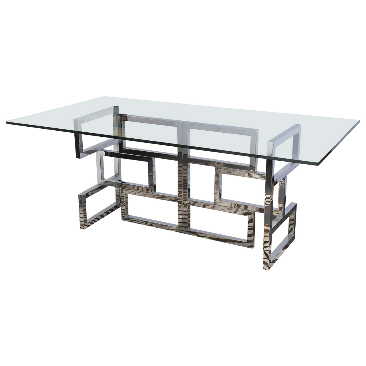 S Modernist Chrome And Glass Dining Table At 1stdibs