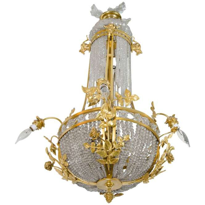 Antique French Gilt Bronze And Crystal Chandelier For