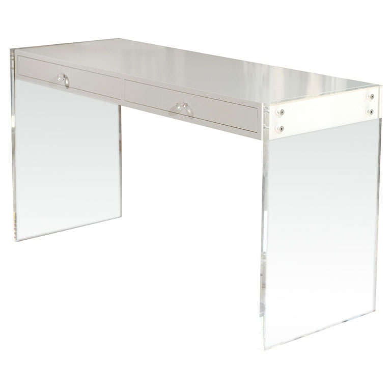 Custom Lucite Lacquered Desk At 1stdibs