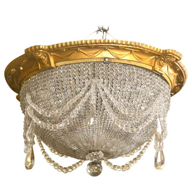 Antique Beaded Dome Crystal Chandelier From Strand Theatre Nyc For