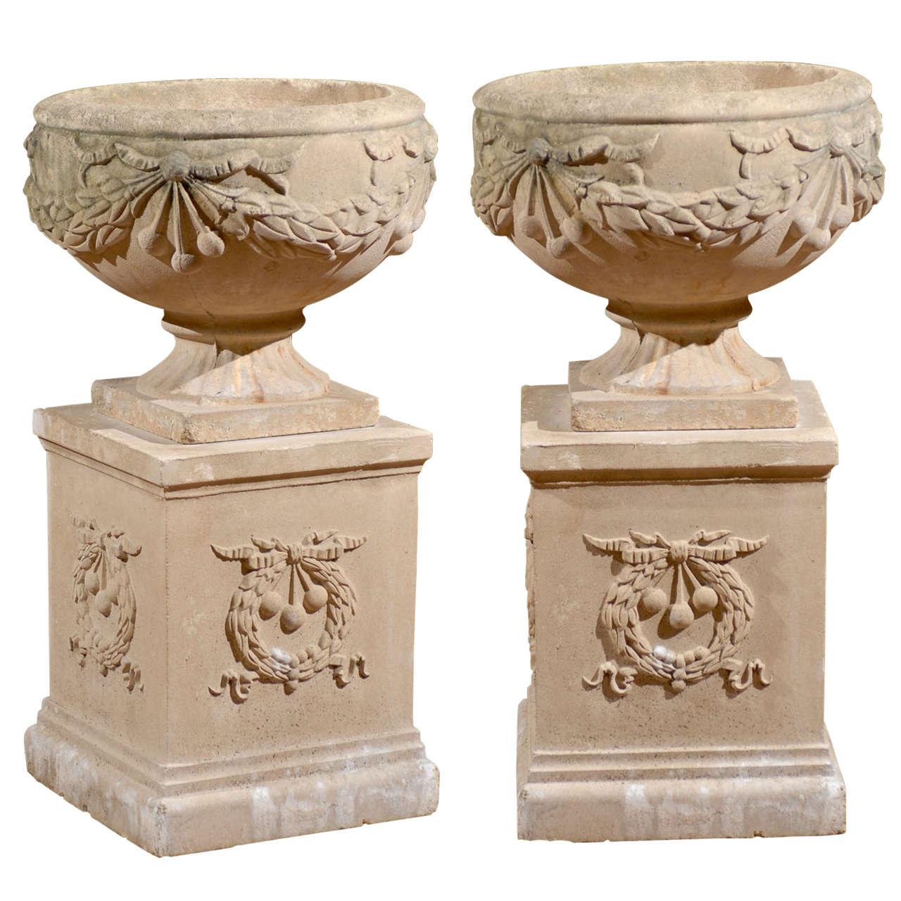 Pair Of Vintage Urns On Pedestals At 1stdibs