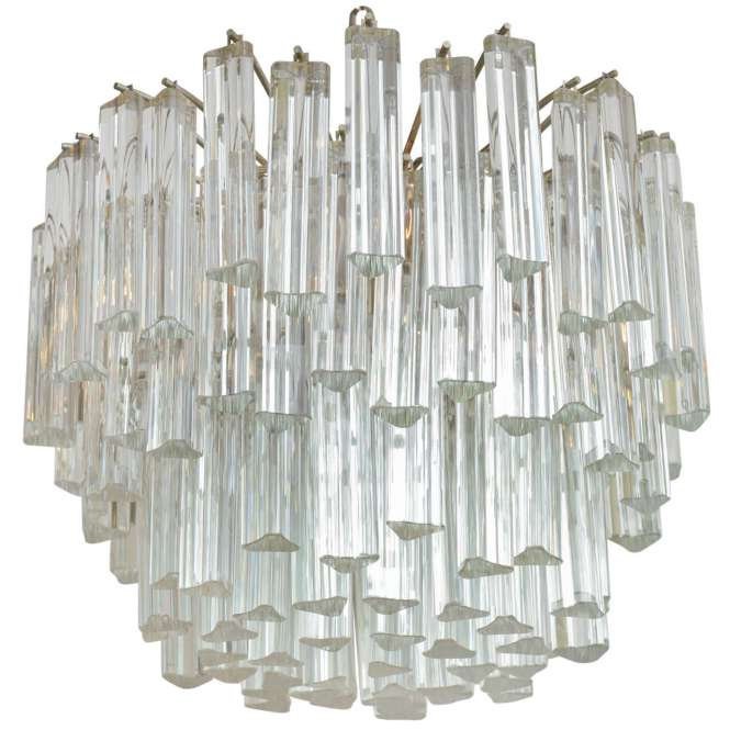 Lush Camer Glass Chandelier With Venini Triedri Crystals For