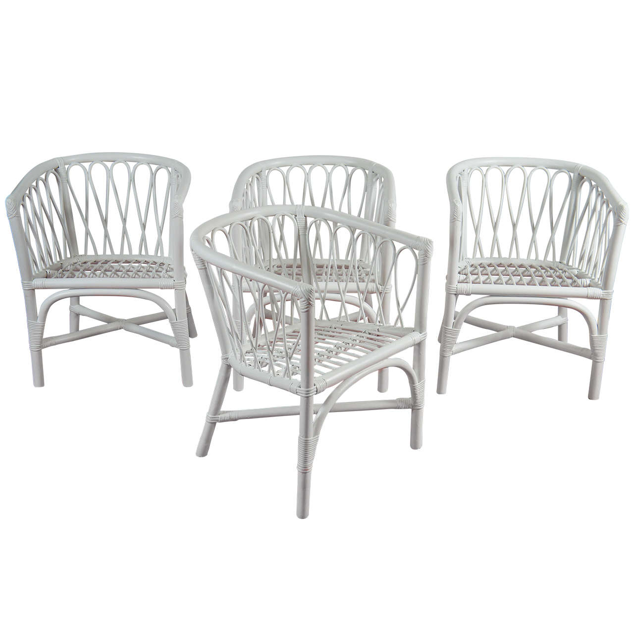 Set Of 4 Bentwood And Rattan Dining Chairs For Sale At 1stdibs
