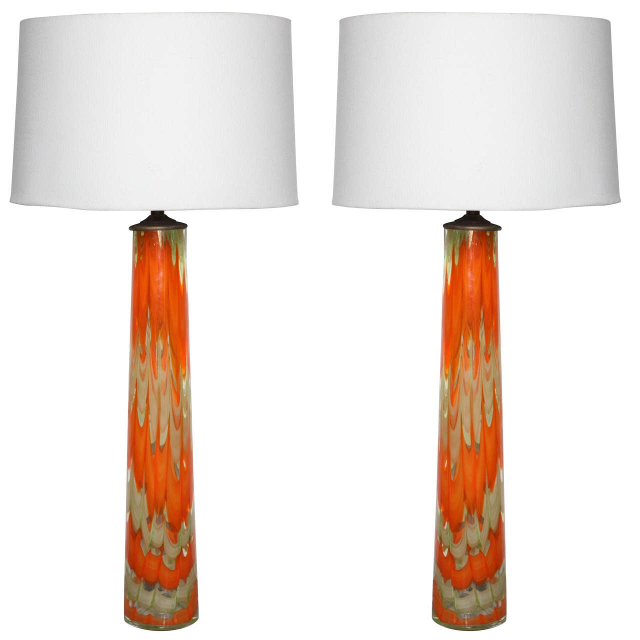 Pair Of Midcentury Orange And Frosted White Murano Glass