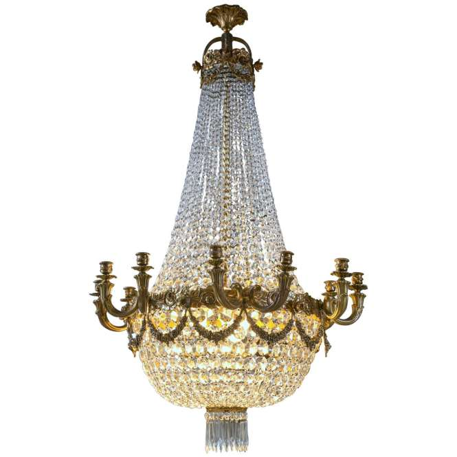 Antique Louis Xvi Style Bronze And Crystal Basket Form Chandelier 1