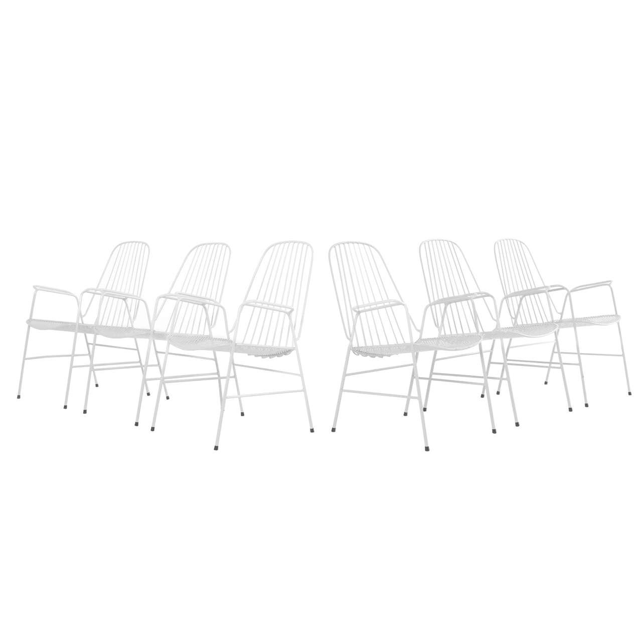 Set Of Six Elegant French Garden Chairs Guild Steel At
