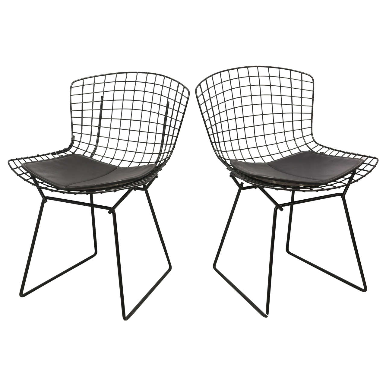 Bertoia Wire Chairs With Black Leather Knoll Cushions