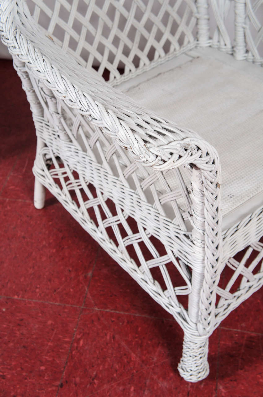 3 Piece Stick Wicker Rattan Table And Chairs At 1stdibs