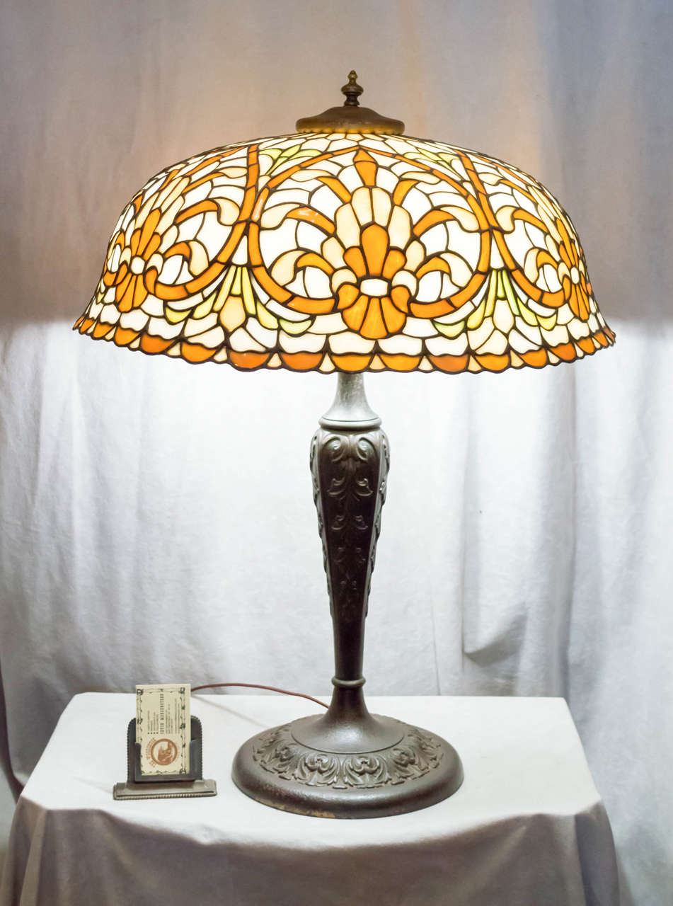 Leaded Glass Table Lamp By Lamb Bros Ca1915 At 1stdibs