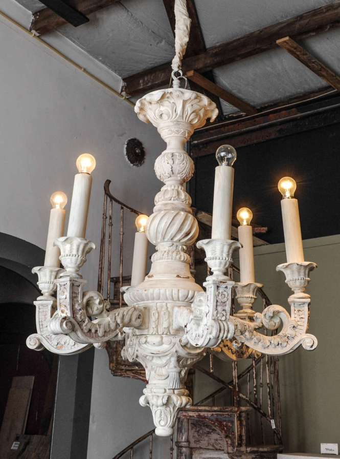 A Large And Decorative French Carved Off White Painted Wooden Six Arm Electrified
