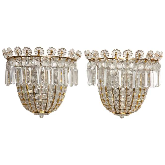 Pair Of Baguès Style Crystal Beaded Wall Sconces 1