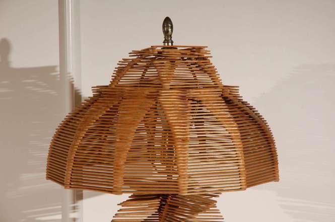 Folk Art Popsicle Stick Table Lamp 3
