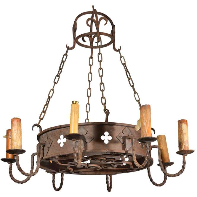 Circa 1900 Round Antique Iron Chandelier From France 1