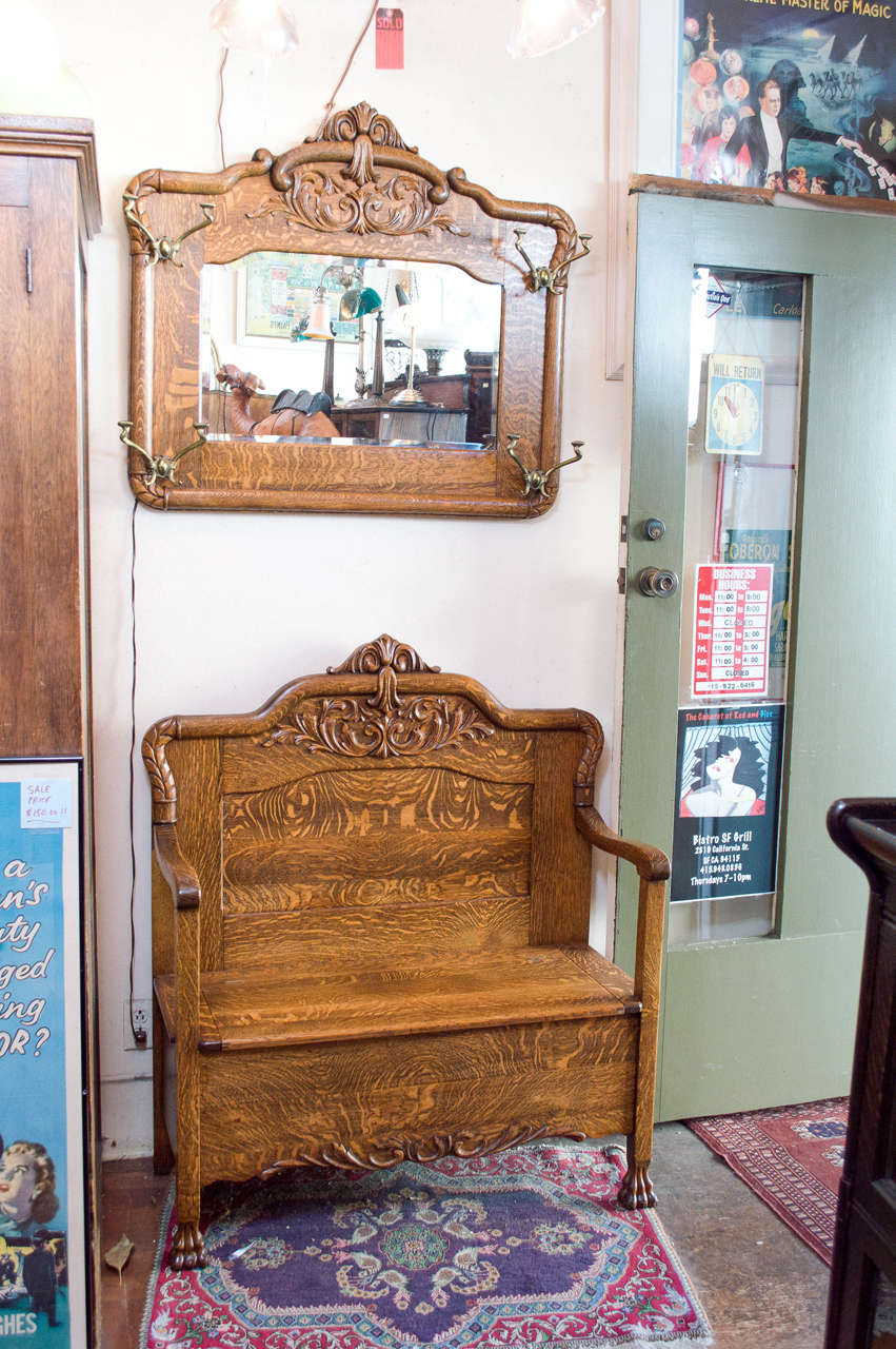 Super Quarter Sawn Oak Hall Bench With Matching Mirror