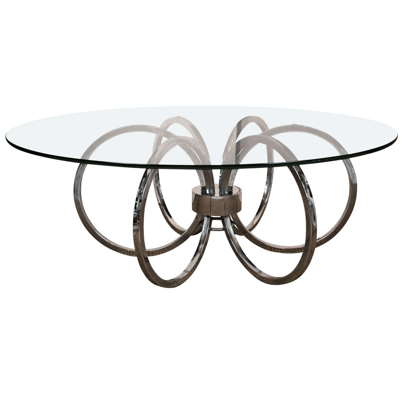 Mid Century Modern Round Chrome And Glass Coffee Table At