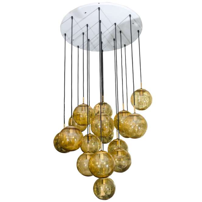 Glass Globe Chandelier By Limburg Glashütte Germany 1