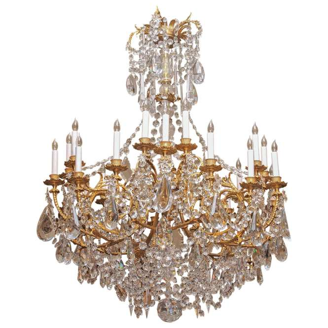 Antique French Baccarat Crystal And Bronze D Ore 24 Light Chandelier Circa 1890 1