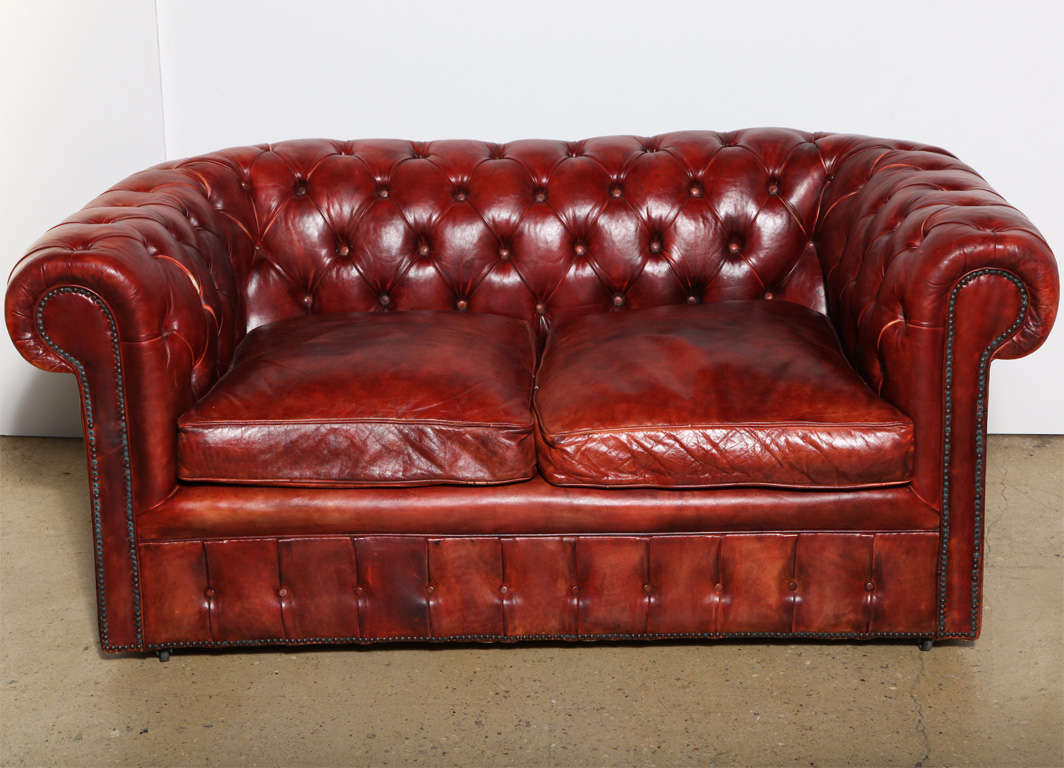 Mahogany Red Leather Chesterfield Sleeper Sofa And Loveseat At 1stdibs