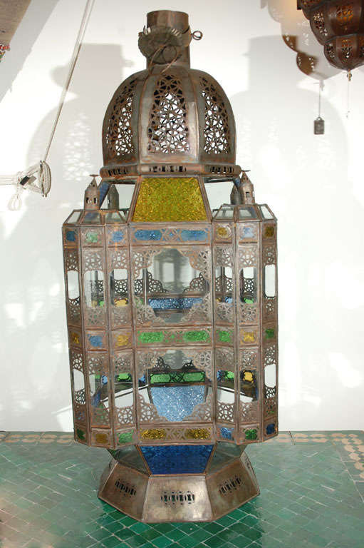 Moroccan Vintage Glass Lantern From Marrakech For Sale At