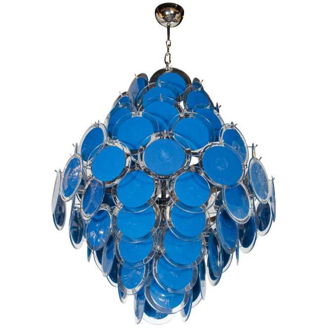 Large 84 Murano Shire And Clear Glass Disc Chandelier Manner Of Vistosi For
