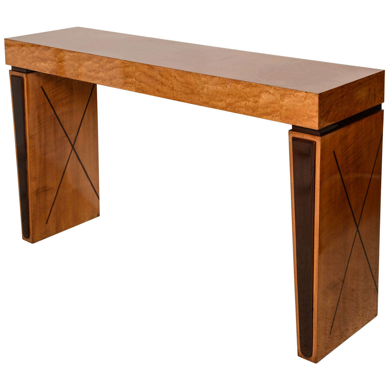 art deco burled walnut and mahogany inlaid console table france
